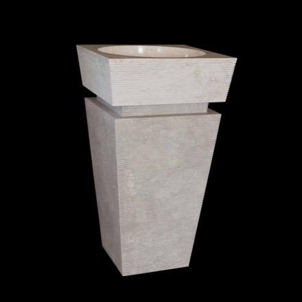 Lavabo a colonna di design in marmo bianco Sire, pezzo unico