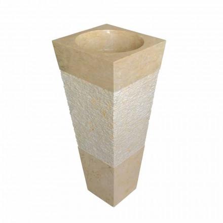 Lavabo a colonna piramidale in pietra naturale beige Nias