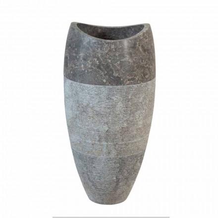 Lavabo a colonna sferico in pietra naturale fumè Gili