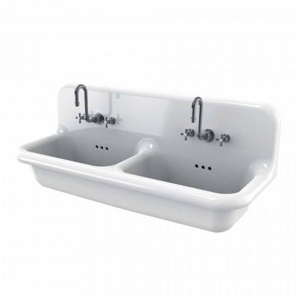 Lavabo a doppia vasca da muro in ceramica bianca stile vintage Andy