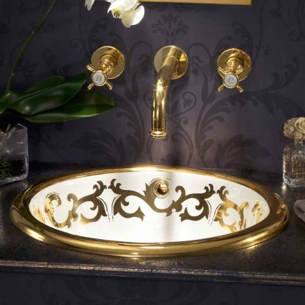 Lavabo a incasso decorato in fire clay e oro 24k fatto in Italia, Otis