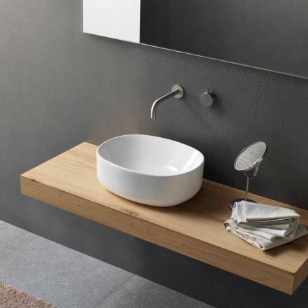 Lavabo Alto Ovale di Design Moderno da Appoggio in Ceramica Bianca - Ventori2