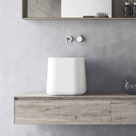 Lavabo Alto Quadrato di Design Moderno da Appoggio in Resina Bianca - Tulyp
