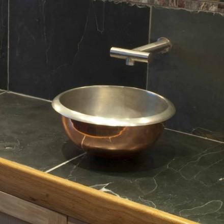 Lavabo appoggio design in rame vintage con finitura nickel satinato Pure