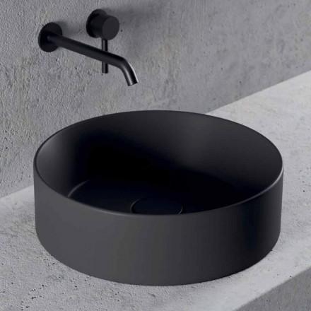 Lavabo Bagno da Appoggio Design Tondo in Ceramica Made in Italy - Malvina