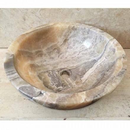 Lavabo bagno da appoggio in pietra onice naturale Ana, fatto a mano