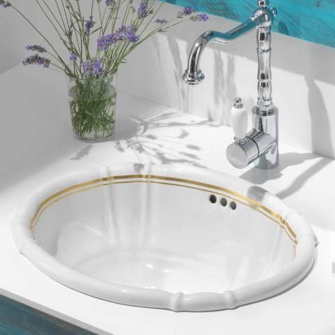 Lavabo da incasso classico in porcellana e oro made in Italy, Santiago