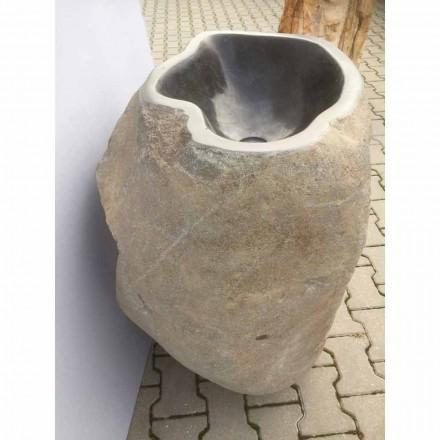 Lavabo bagno design a colonna in pietra naturale Mare, pezzo unico