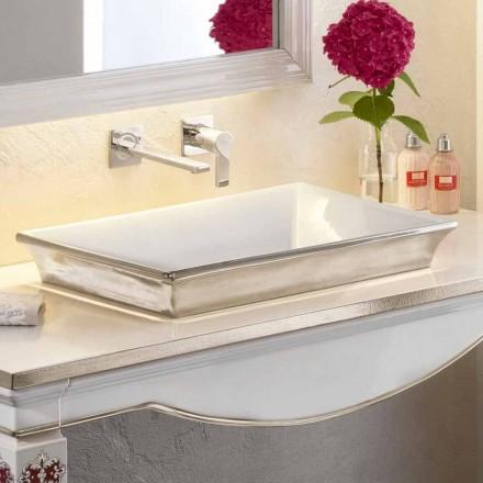 Lavabo bagno semincasso in fire clay e platino fatto in Italia, Guido