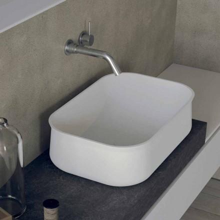 Lavabo Bianco Alto Rettangolare da Bagno Moderno di Design da Appoggio - Tulyp2