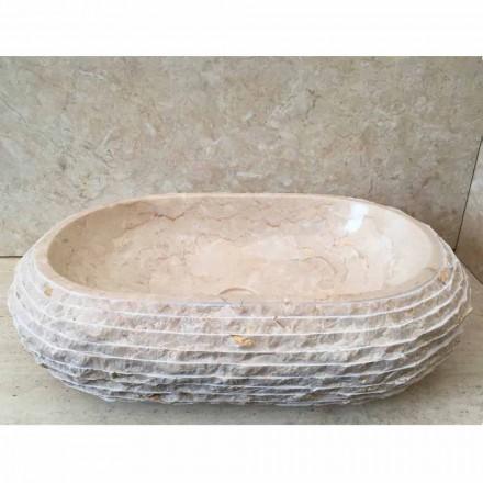 Lavabo bianco da appoggio ovale Cora, pezzo unico fatto a mano