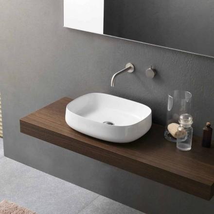 Lavabo Bianco di Design Moderno in Ceramica da Appoggio Made in Italy - Tune2