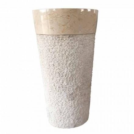 Lavabo bianco in pietra naturale a colonna Siro design, pezzo unico