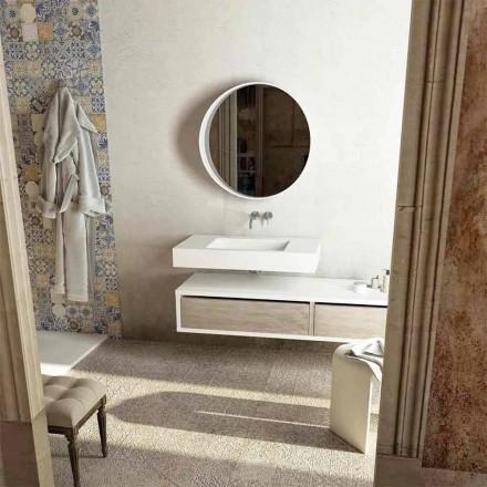 Top con lavabo centrale integrato per bagno Gemona, made in Italy