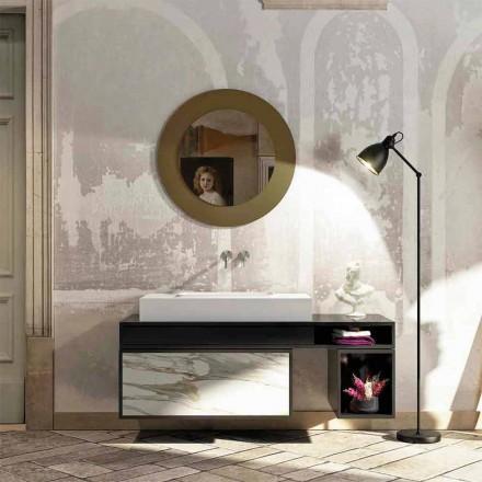 Top da bagno con lavabo integrato centralmente in Luxolid Voghera