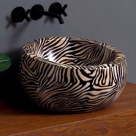 Lavabo circolare moderno da appoggio in ceramica made in Italy Elisa