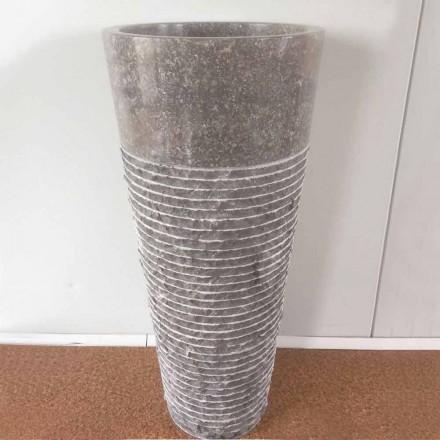 Lavabo conico a colonna in pietra naturale Iga, pezzo unico di design