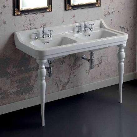 Lavabo consolle classico a doppia vasca in ceramica made Italy, Swami