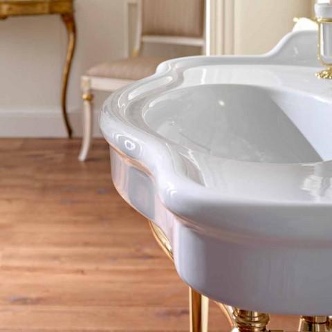 Lavabo Consolle con Doppia Vasca su Piedi in Ceramica, Made in Italy - Paulina