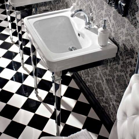 Lavabo Consolle L 65 cm in Ceramica con Piedi in Metallo, Stile Vintage - Marwa