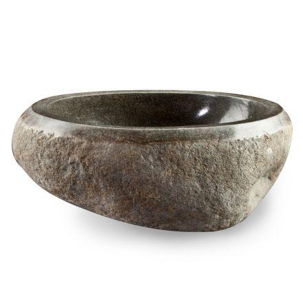 Lavabo da Appoggio Artigianale in Pietra Naturale di Fiume Moderno - Aurea