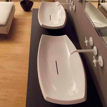 Lavabo da appoggio ceramica bianco di design moderno made Italy Laura