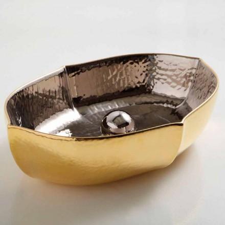 Lavabo da appoggio ceramica platino e oro di design made Italy Oscar