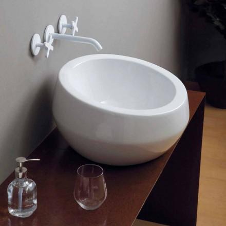 Lavabo da appoggio circolare di design in ceramica made in Italy Elisa