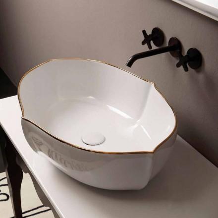 Lavabo da appoggio design ceramica bianco bordo oro made Italy Oscar