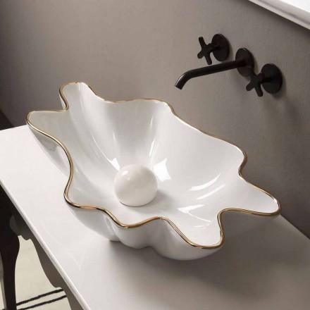 Lavabo da appoggio design ceramica bianco bordo oro made Italy Rayan