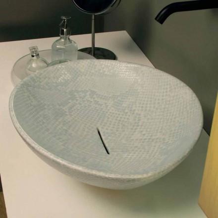 Lavabo da appoggio design ceramica pitonata bianca made Italy Animals