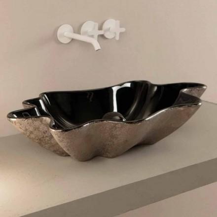 Lavabo da appoggio di design ceramica nero e argento made Italy Rayan
