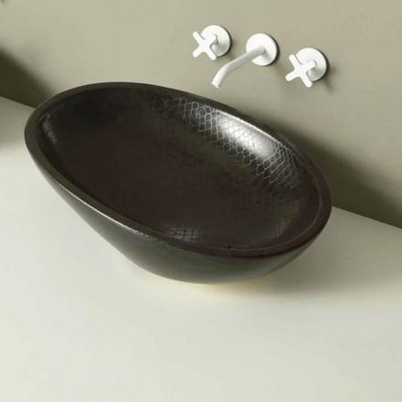 Lavabo da appoggio di design ceramica pitone nero made in Italy Glossy