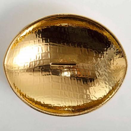Lavabo da appoggio di design in ceramica gold made in Italy Animals