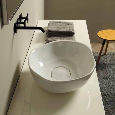 Lavabo da appoggio di design in ceramica made in Italy Stelo