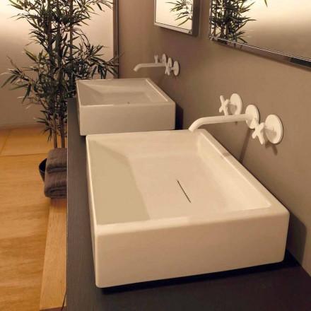 Lavabo da appoggio di design in ceramica rettangolare made Italy Dalia