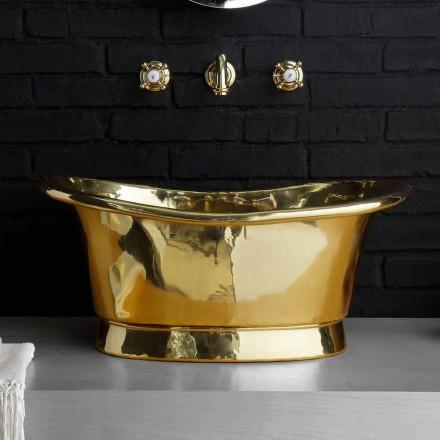 Lavabo da appoggio di design interamente in ottone Calla