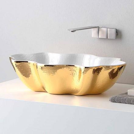 Lavabo da appoggio di design moderno in ceramica fatto in Italia Cubo