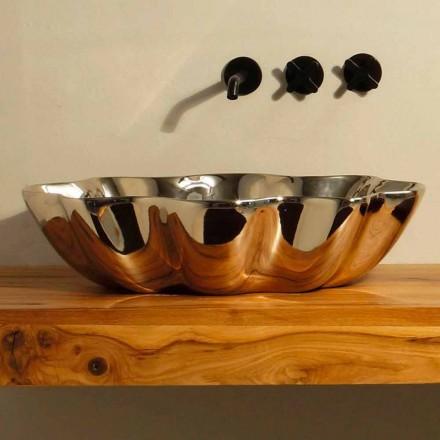 Lavabo da appoggio di design moderno in ceramica made in Italy Cubo