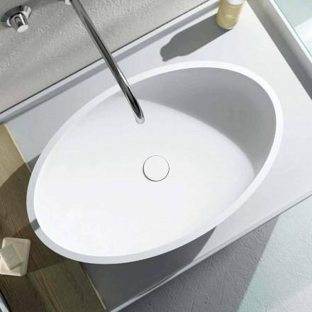 Lavabo da appoggio freestanding ovale prodotto in Italia, Frascati