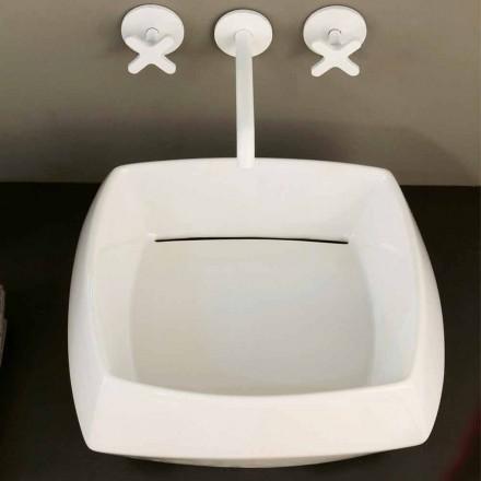 Lavabo da appoggio in ceramica bianca di design made in Italy Simon