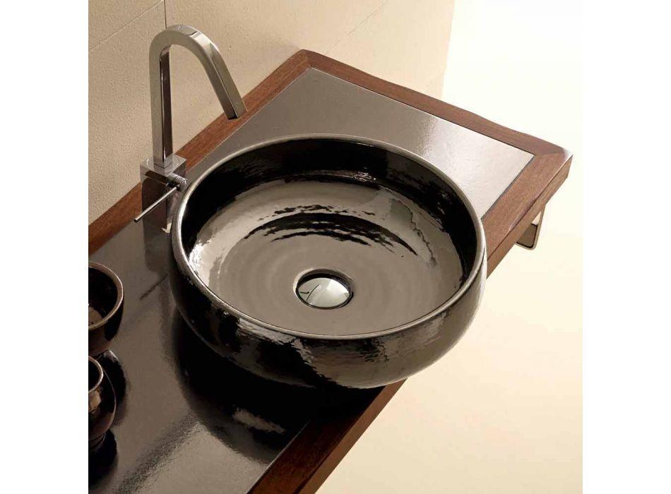 Lavabo da appoggio in ceramica raku fatto a mano in Italia, Ramon