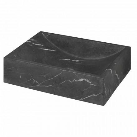 Lavabo da Appoggio in Marmo Nero Marquinia Quadrato Made in Italy – Bernini