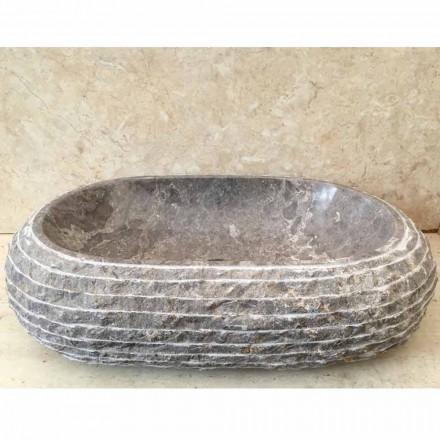Lavabo bagno da appoggio in pietra grigia Ivy, pezzo unico di design