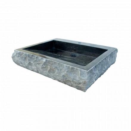 Lavabo bagno nero da appoggio in pietra naturale sam pezzo unico - Lavabo in pietra per bagno ...