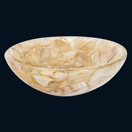 Lavabo da appoggio in resina artificiale Alma, inserti in pietra agata