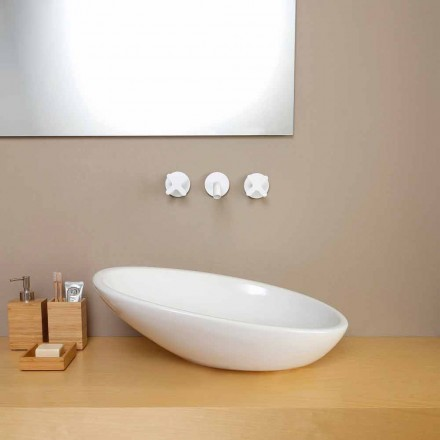 Lavabo da appoggio inclinato di design ceramica made in Italy Glossy