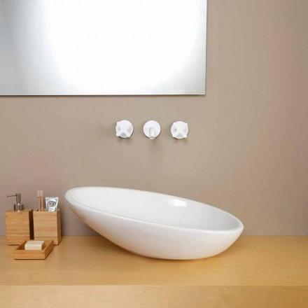 Lavabo da appoggio inclinato di design ceramica made in Italy Glossy