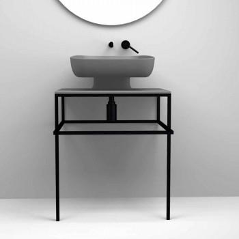 Lavabo da appoggio moderno in ceramica realizzato in Italia, Reale