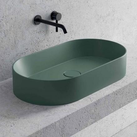 Lavabo da Appoggio Ovale in Ceramica Bianca o Colorata Made in Italy - Malvina